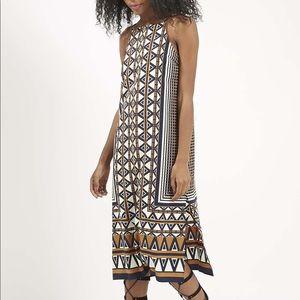 Topshop Midi Geometric Side Slit Dress Aztec Print